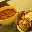 Potato chips & canned chili beans